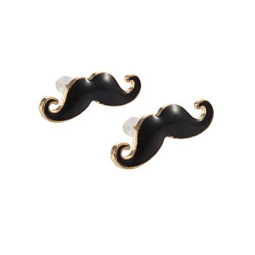 Sorella'z Girls Black Moustaches Earrings