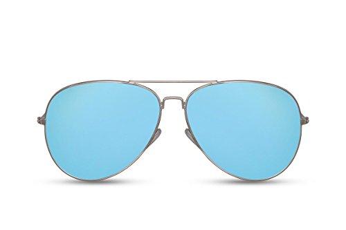 Cheapass Flieger-Sonnenbrille Silber Blau Verspiegelt UV-400 Pilot-en Fliegen Metall-Rahmen Damen Herren