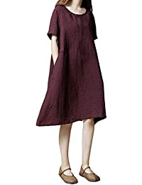 5cfa19ac41 VEMOW Faldas Midi Vestido de Rayas y Rayas Sueltas de algodón y Lino de  Manga Corta