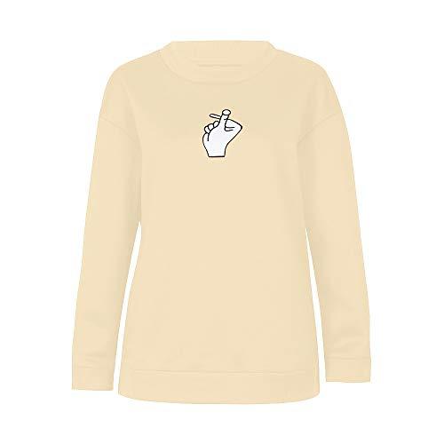 Herbst Lange ärmel drucken Sweatshirt Frauen-Herbst-Art- und weiselanghülse druckte Sweatshirt-blusen-Oberseiten-t-Shirt- Kaktus Druck Pullover Tops -Hoodie Langarm Princess Brief (Gelb,XL)
