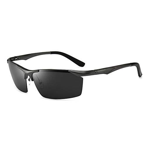 WULE-RYP Polarisierte Sonnenbrille mit UV-Schutz Herren Classic Half Frame Driving Sportbrillen, polarisierte Sonnenbrillen Superleichtes Rahmen-Fischen, das Golf fährt (Farbe : Schwarz)