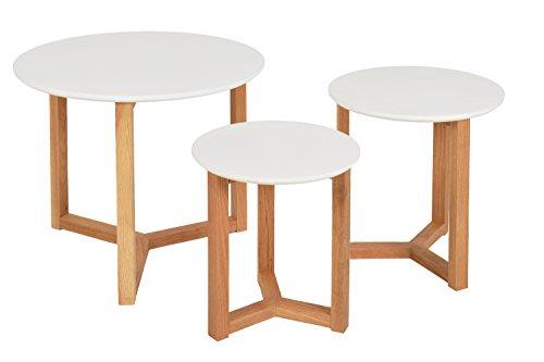 Ensemble Set Table 3 Tables d'appoint e MDF Bois de chêne Rond Cuisine entrée Salle à Manger Blanc Naturel Blanche