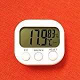 elegantstunning Thermometer LCD Digital Hygrometer Temperatur Feuchtigkeit Meter Messgerät mit Uhr 2016 neue Wetterstation