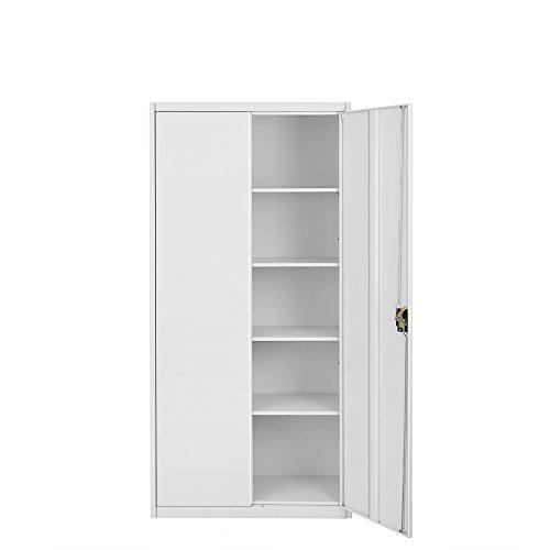 Britoniture Office Cupboard 2 Doors Metal Lockable Storage File Cabinet 185cm