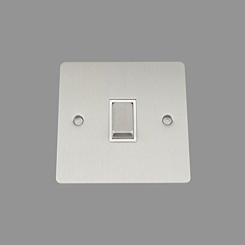 AET fsc1gswiws 10A 1-fach 2-Wege-Satin Chrom flach Single Lichtschalter mit weißem Einsatz Metall Schalter - Single Lichtschalter