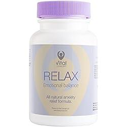 RELAX - Angst und Stress Relief Supplement, Vitamin B und Magnesium-Komplex-Kapseln. Unterstützt das Wachstum von Serotonin, Glückshormon. Sei fokussierter und positiver. Bewährte Kräuterformel. 60 ve