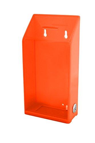 My Charity Boxes, reclinare la donazione di alta qualità, con parete posteriore trasparente per Display, per zona fondi donazione Box-Scatola porta-biglietti da collezione, colore: arancione fluorescente