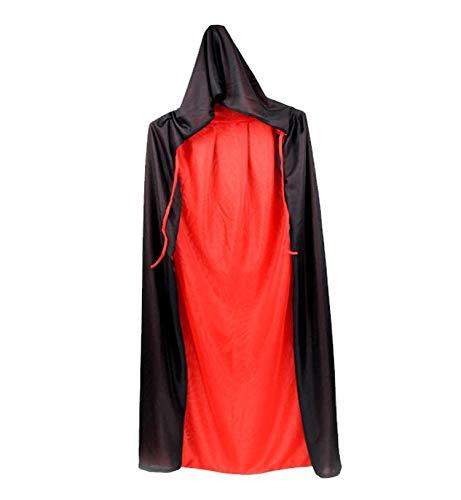 LL Halloween-Umhang Halloween-Mantel-Maskerade-roter und schwarzer doppelter mit Kapuze -