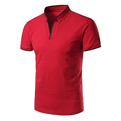 Frashing Herren Sommer Polo Shirt Kurzarm V-Ausschnitt Sweatshirt Poloshirt Kurzarmshirt Sportshirt T-Shirt Freizeit Hemd Slim Fit Einfarbige Casual Top Polohemd (V-pullover De)