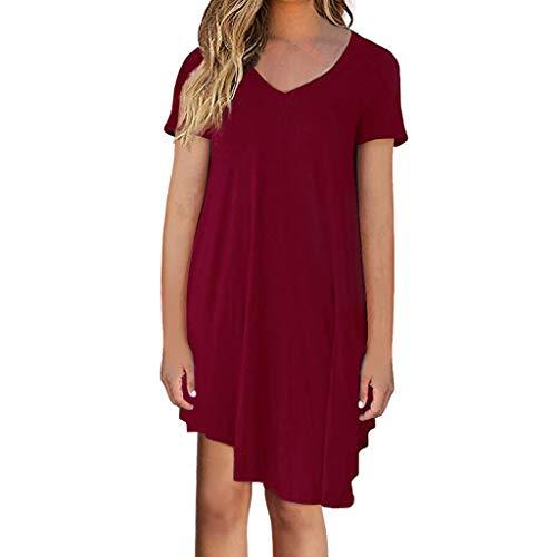 Beikoard Damen Langes Kurzarm Oberteil V-Ausschnitt einfarbig Kleid lose Casual Elastische ()