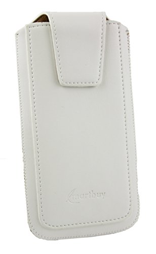 Emartbuy Sleek Range White Luxury PU Leather Slide in Pouch Case Cover Sleeve Holder ( Size LM2 ) With Magnetic Flap & Pull Tab Mechanism Suitable For Motorola Moto E3 Power  available at amazon for Rs.499
