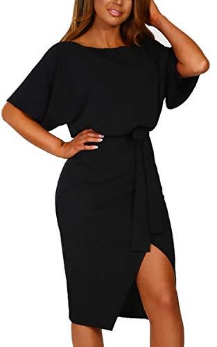 Angashion Damen Kleid Kurzarm Rundhalsausschnitt Midikleid Schlitz Partykleid Abendkleid mit Gürtel Schwarz L