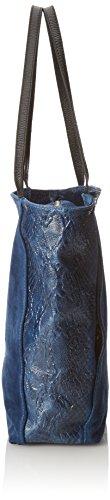 CTM Borsa a mano da donna in vera pelle scamosciata con fantasia animalier made in Italy 33x38x11 Cm Blu scuro