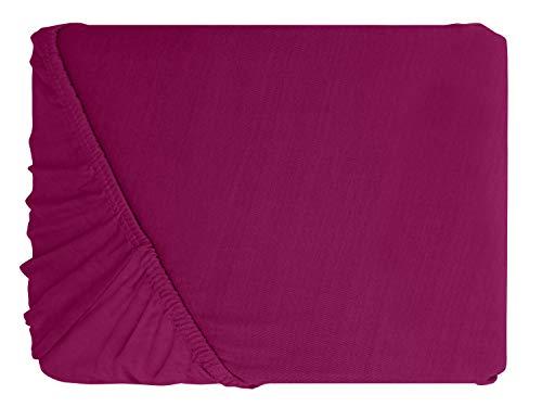 npluseins klassisches Jersey Spannbetttuch – erhältlich in 34 modernen Farben und 6 verschiedenen Größen – 100% Baumwolle, 90-100 x 200 cm, pink - 2