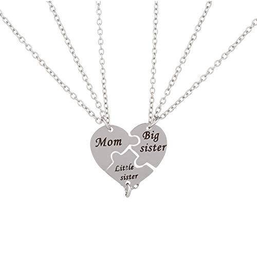 0841593df842 Jiayiqi Tres Mediano Tono Plateado Corazón Mamá Gran Hermana Pequeña  Hermana Grabado Collar Largo Colgante