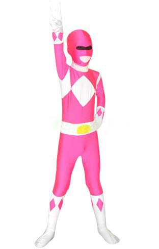 FYBR Kinder Pink Power Ranger SuperSkin Kostüm - Kinder Unisex Jungen & Mädchen Einteiler, Mighty Morphin Zentai Animal Cosplay Outfit Halloween Kleidung Lycra Spandex, Rose, L (Pink Kostüm Ranger Kinder Power)