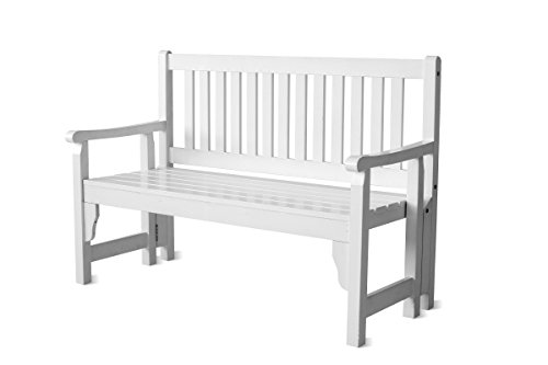 Ambientehome Bank, Faltbare Finnland Massivholz Gartenbank 120 cm, weiß, 128x56x91 cm, 90797 - 2
