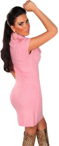 In Style Damen Strickkleid & Pullover kurzärmelig mit weitem Rollkragen Einheitsgröße (34-40) Rosa