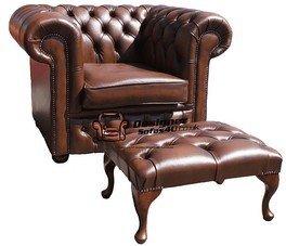 Designer Sofas4u Chesterfield Low Back Sessel Antik Hellbraun Leder Sofa + Fußhocker
