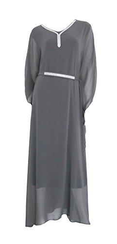 edles Chiffonkleid im Kimono Stil 2-lagig Abendkleid Maxikleid Glitzer Ausschnitt Gürtel Einheitsgröße 38 40 42 44 M L XL (8205) Grau