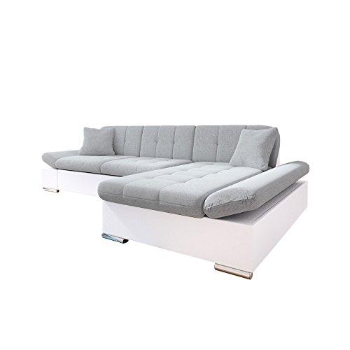 Wohnzimmer Moderne Schlafsofa (Mirjan24  Ecksofa Malwi mit Regulierbare Armlehnen Design Eckcouch mit Schlaffunktion und Bettkasten, L-Form Sofa vom Hersteller, Couch Wohnlandschaft (Soft 017 + Bristol 2460, Ecksofa: Rechts))