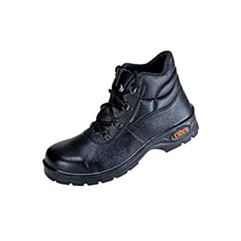 Tiger Men's High Ankle Leopard Steel Toe Safety Shoes (Size 9 UK, Black, Leather )