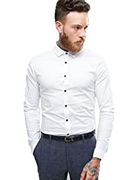ROYAL Attire Men's Contrast Button Slim Fit Formal Shirt