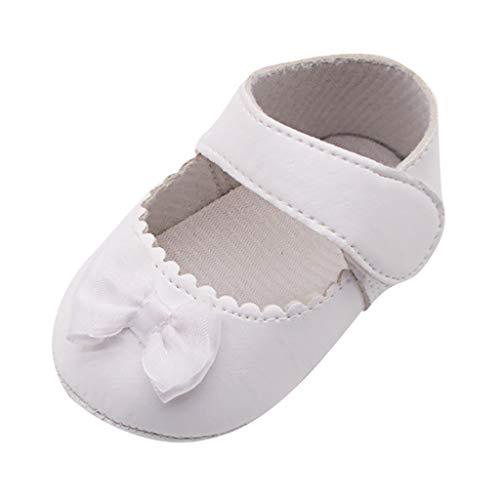 Precioul Baby Mädchen Taufe Kleinkind Rutschfeste Kleid Schuhe mit Bowknot Spitze Floral Einfarbiger Bogen Schnalle Weich Tragekomfort qualitativ hochwertige (Baby-kleid-schuhe)