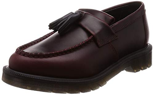 Dr. Martens Unisex Adrian Aqua Glide Tassel Leather Loafer Deep Red-Red-4 Size 4