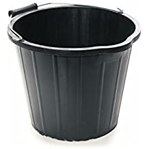 15 Litre Heavy Duty General Purpose Black Plastic Bucket Ideal for The Home, Workplace, car wash, Mixing, Garden Waste, Home fire Debris & Other General Household Waste