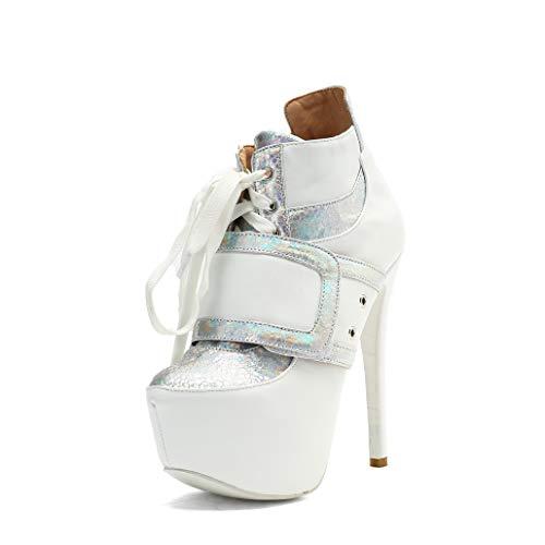 Damenschuhe Weiß High Heels Mode Glitter Pailletten Plattform Komfort Damen ()