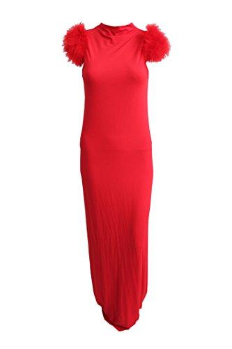 PATRIZIA PEPE Kleid lang mit Kunstfell Schulter Rot Größe S/M