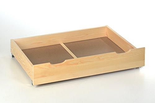 2x Bettschublade Holz für Bettgestell ✓ Robust ✓ Massives Kieferholz ✓ Rollen | Bettkasten, Bettauszug mit Rollen | Rollbettkasten, Rollcontainer zur Aufbewahrung von Bettwäsche
