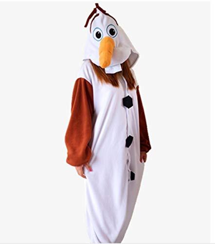 (Canberries® Pyjama Tieroutfit Tierkostüme Schlafanzug Tier Onesize Sleepsuit mit Kapuze Erwachsene Unisex Fleece-Overall Kostüm festival tauglich (Adults XL Für 179-188CM, Schneemann Olaf))
