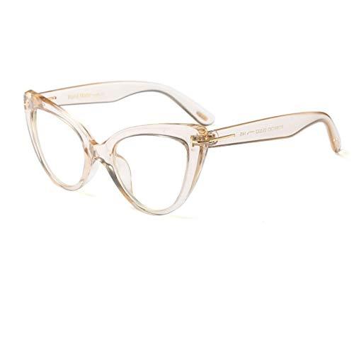 Rjjdd Cat Eye Brillengestell Damenmode Marke Brillengestelle für Damen 2019 Sexy Oversized Metal Frame Lady Eyewear (Cat Eye Kontakt)