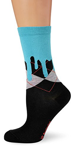 Burlington Damen Socken Argyle Drippy, Mehrfarbig (Black 3000), 36/41