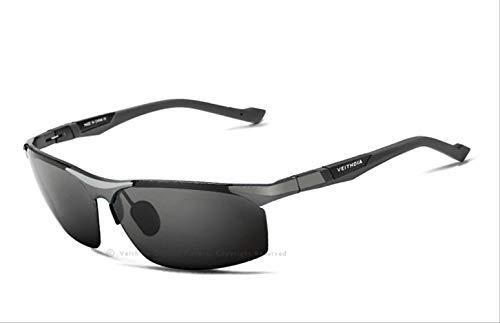 MJDL Aluminium Magnesium Herren Sonnenbrille Polarized Blue Beschichtung Spiegel Sonnenbrille Oculos Brillenzubehör Herren Grau