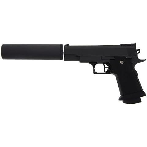 G10A - Pistola softair interamente in metallo con silenziatore, sotto 0,5 joule, 6 mm + adesivo G8DS®