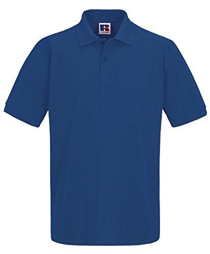 Herren Russell Einfarbiges Pique Polohemd T-shirt Sommer 100% Baumwolle Kurzärmeliges Top Blau