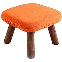Uogrohhitu[jiptrtr Taburetes de Madera, Telas y muelles Cuadrados, tamaño Opcional 29 * 29 * 20cm (Color : Orange)
