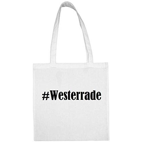 Tasche #Westerrade Größe 38x42 Farbe Weiss Druck Schwarz