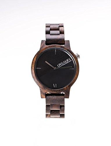 LIVEALIFE SANDELHOLZ Holzuhr Chinnar black (schwarz) mit Schweizer Uhrwerk
