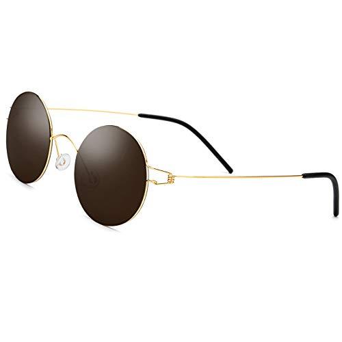 Schraubenlose Titanlegierung polarisierte Sonnenbrille Nylon Linsen Männer Frauen 100% UV Schutz Sonnenbrille Brille (Farbe : Gold Frame Tea Slice, Größe : Free)