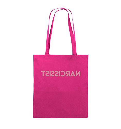 Comedy Bags - NARCISSIST - GESPIEGELT - Jutebeutel - lange Henkel - 38x42cm - Farbe: Schwarz / Pink Pink / Rosa