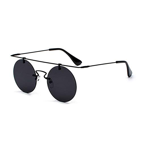 Szblk Polarisierte Sonnenbrillen Sonnenbrillen for Herren und Damen Reflektierende Sonnenbrillen Outdoor-Sonnenbrillen Randlos Ultraleichte runde Form (Color : Black)