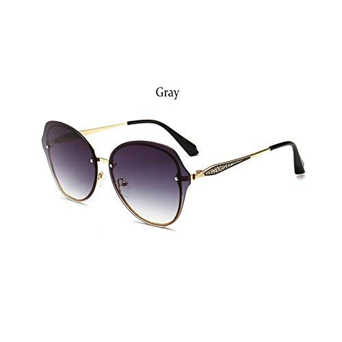 TJJQT Sonnenbrillen Damen Sonnenbrillen rahmenlose runde Schattierungen für Damen transparente quadratische Crystal Sunglass Women