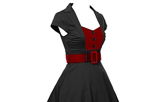 iLover Rétro Vintage années 50 's Style Hepburn Rockabilly Swing, Robe de Bal à Manches Courtes Robe de soirée Noir