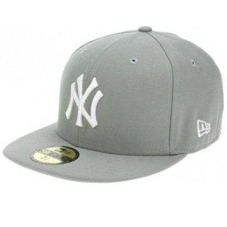 New Era Erwachsene Baseball Cap Mütze Mlb Basic New York Yankees 59Fifty Fitted, Grau (Light Grey), 7 1/2 (New York Yankees Baseball Cap)