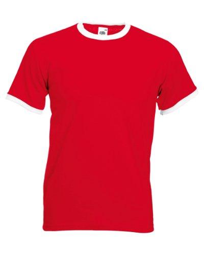 Fruit of the Loom Herren T-Shirt Ss040m Rot/Weiß