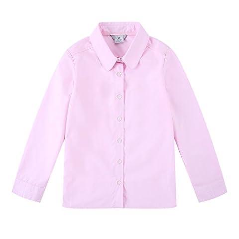 Bienzoe Big Girl's School Uniforms Oxford Long Puff Sleeve Blouse Pink M